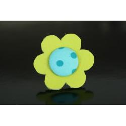 Bague fleur de cuir vert anis et bouton bleu