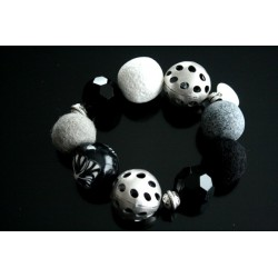 Bracelet fantaisie noir et blanc