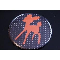 Miroir de poche 75 mm noir à pois et motif faon