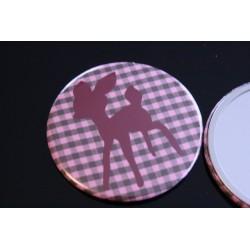 Miroir de poche 75 mm vichy et motif faon