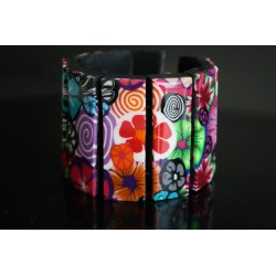 Bracelet manchette coloré en polymère Polka