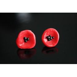 Boucles d'oreilles puce coquelicots