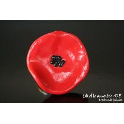 Bague coquelicot en argile polymere