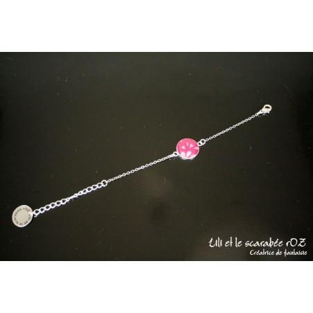 Bracelet médaillon en liberty Capel Fushia