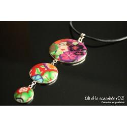 Collier 3 médaillons colorés