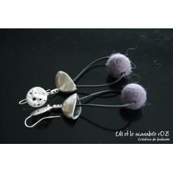 Boucles d'oreilles en laine feutrée Cascade