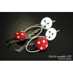 Boucles d'oreilles fantaisie Osmose rouge