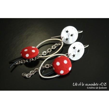 Boucles d'oreilles fantaisie Osmose rouge et noir