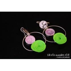 Boucles d'oreilles fleurs roses