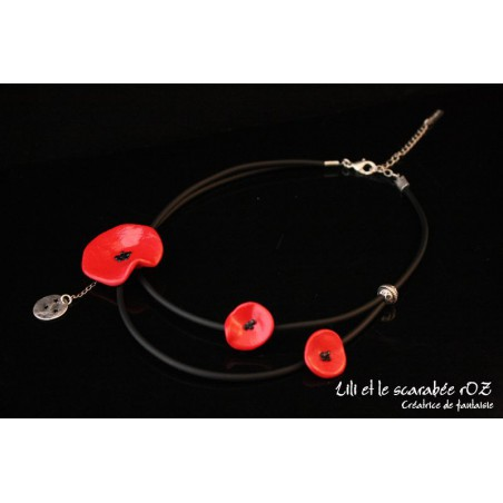 Collier coquelicot double rang