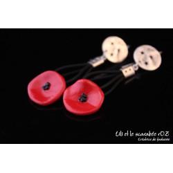Boucles d'oreilles coquelicots pendantes