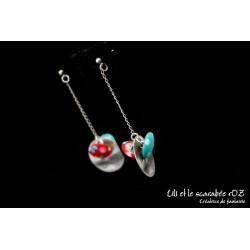 Boucles d'oreilles pendantes colorées 03