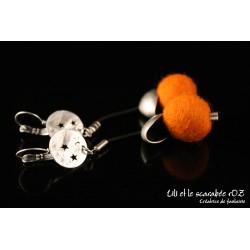 Boucles d'oreilles laine feutrée colorée