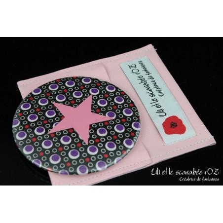 Miroir de poche 75 mm et pochette cuir violet