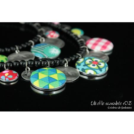 Collier double rang à breloques colorées tzigane