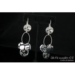 Boucles d'oreille graphiques noir et blanc
