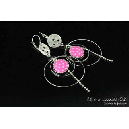 Boucles d'oreilles créoles colorées
