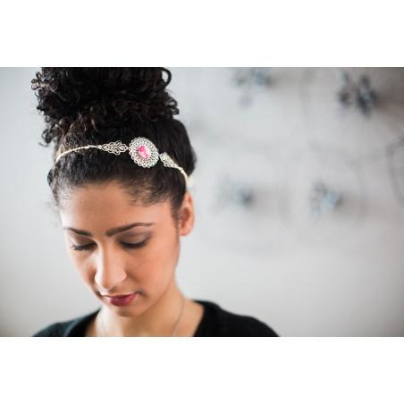 Headband à bouton textile et estampes