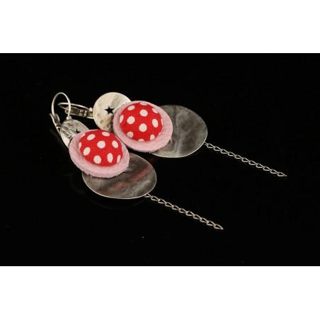 Boucles d'oreilles rouge à pois