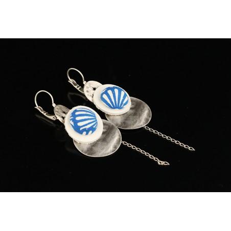 Boucles d'oreilles textiles pendantes