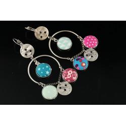 Boucles d'oreilles Tzigane à breloques bleues