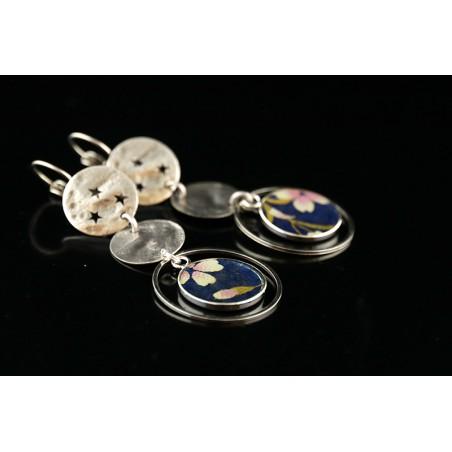 Boucles d'oreilles en papier japonais