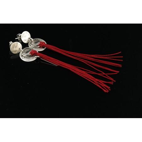 Boucles d'oreille longues pompons Noëlie rouge bordeaux