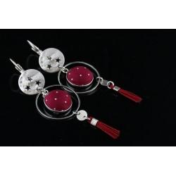 Boucles d'oreille délicates Mila rouge bordeaux
