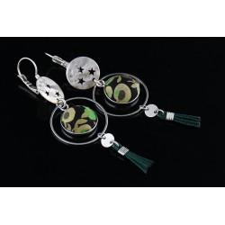 Boucles d'oreille délicates Mila vert sapin