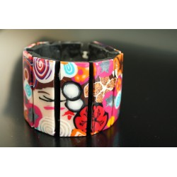Bracelet manchette en polymère Polka