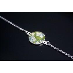 Bracelet médaillon en liberty Capel Vert