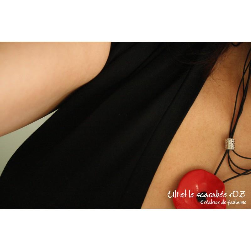 Collier cravate coquelicot / PROS