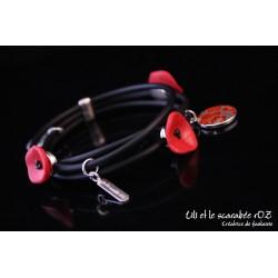 Bracelet triple coquelicot /PROS