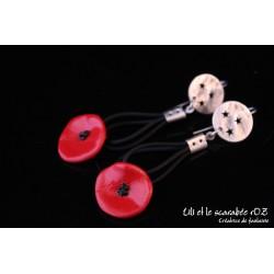 Boucles d'oreilles pendantes coquelicots / PROS